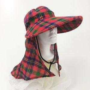VTG Oversized Brim Christmas Plaid Flannel Sun Hat